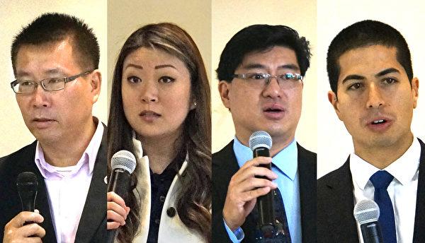 """""""第六届青年领袖论坛""""主讲嘉宾,左起:安丰贵、唐佳宇、陈德基、高丹尼。(景灏/大纪元)"""
