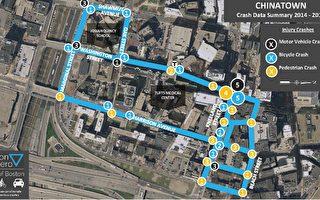 波城華埠鄰近街道發生交通事故的數據分析圖。(波士頓交通局提供)