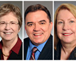 明尼蘇達州參議員(41選區)凱洛琳·麗安 Carolyn Laine,參議員(36選區)約翰·霍夫曼 John Hoffman(40選區)參議員克里斯·伊頓 Chris Eaton(大紀元合成圖)