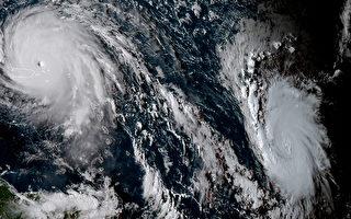 颶風艾瑪已升級為「極度危險」的第5級颶風,6日朝加勒比海逼近。圖為颶風艾瑪衛星雲圖。(HO/NOAA/RAMMB/AFP)