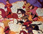 使用蒙古弓作战的蒙古突骑(维基百科公有领域)