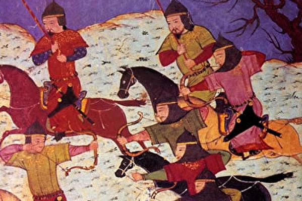 使用蒙古弓作戰的蒙古突騎(維基百科公有領域)
