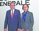 法兴银行亚太区首席经济师 Klaus Baader(左)和中国首席经济师姚炜(右)。(郭威利/大纪元)