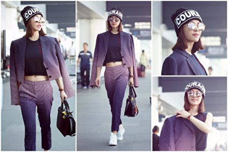 蔡依林受邀赴米蘭時裝週,於9月21日著秋冬新裝出發。( Versace/大紀元合成))