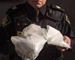 图说:安省警方展示查获的芬太尼毒品。(加通社)