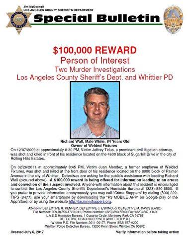 加州和內華達州的調查員認為,64歲的沃爾是這三起殺人案的嫌犯,案發原因都是商業或法律糾紛。(警方提供)