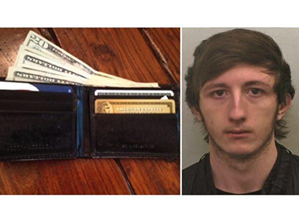 英國19歲的青年道茲(圖右)搶劫皮包後良心發現,向警方投案。(NTDTV合成)
