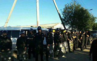 9月13日,北京昌平區流村鎮上店村百餘名村民因建高速賠償不公,阻止施工發生衝突。(受訪者提供)