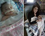 爸爸剧烈摇晃之下,小夏延的头骨被震裂,导致大脑肿胀、流血。(Facebook: Prayers for Cheyenne Rae/大纪元合成)