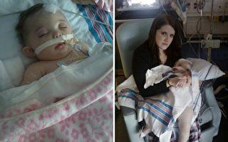 爸爸劇烈搖晃之下,小夏延的頭骨被震裂,導致大腦腫脹、流血。(Facebook: Prayers for Cheyenne Rae/大紀元合成)