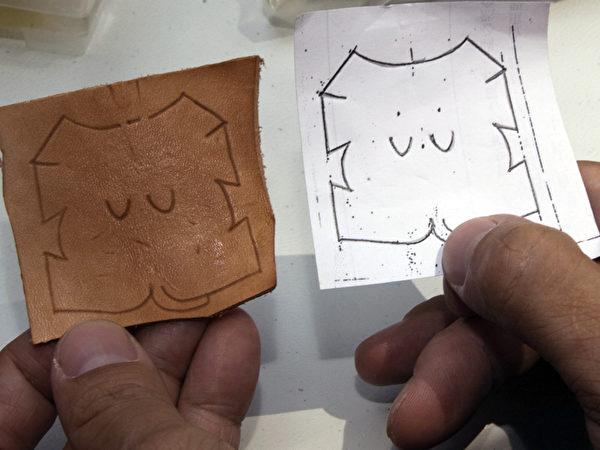 小猪立体皮雕的平面图。(彭秋燕/大纪元)