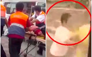 车祸前一秒,妇人做出反应让人震撼。(视频截图/大纪元合成)