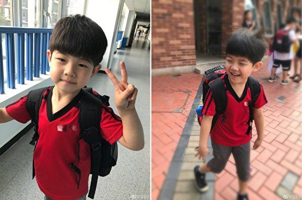 胡可在微博晒照大儿子安吉上学的第一天。(胡可微博/大纪元合成)