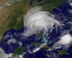 2017年9月11日卫星图像显示飓风Jose(下右)和热带风暴艾玛(中)。(AFP PHOTO / NASA/GOES Project)