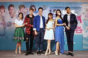 医疗喜剧《实习医师斗格》9月12日在台北举办首映会,左起为林柏妤、TEDDY、张捷、夏宇禾、李又汝、余秉谚。(民视提供)