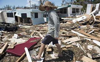 9月12日,佛羅里達群島伊拉莫拉達被艾瑪颶風損壞的物品。( AFP PHOTO / SAUL LOEB)