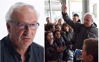 执教达40年的法籍体育教师艾伦·多纳教授,他的教学生涯在2016年12月16日划下句点。本打算安静地悄悄离校,没想到他的退休日送别画面感动地球千万人。(视频截图/大纪元合成)