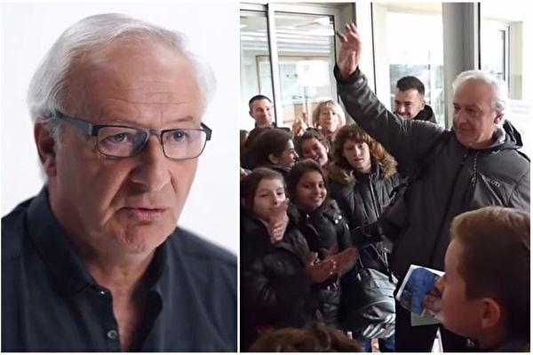 執教達40年的法籍體育教師艾倫·多納教授,他的教學生涯在2016年12月16日劃下句點。本打算安靜地悄悄離校,沒想到他的退休日送別畫面感動地球千萬人。(視頻截圖/大紀元合成)