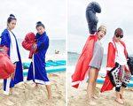 莎莎(左)最近為《食尚玩家》前進澎湖,與另一位主持人巴鈺(右)分別組隊在海上比賽拳擊。(TVBS/大紀元合成)