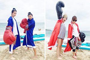 莎莎(左)最近为《食尚玩家》前进澎湖,与另一位主持人巴钰(右)分别组队在海上比赛拳击。(TVBS/大纪元合成)