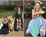 美国7岁女孩依丹,有着天使般灿烂的开朗笑容,面对困难,仍然没有丢掉自己最宝贵的资产——不屈不挠的阳光性格!(Facebook: Stand for Eden/大纪元合成)