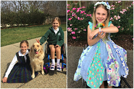 美國7歲女孩依丹,有著天使般燦爛的開朗笑容,面對困難,仍然沒有丟掉自己最寶貴的資產——不屈不撓的陽光性格!(Facebook: Stand for Eden/大紀元合成)
