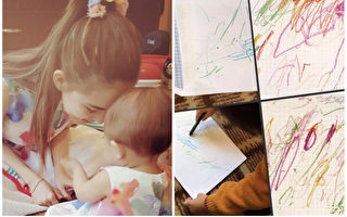 豪宅的女主人昆凌对女儿的涂鸦淡定至极,反应和周董形成强烈对比。(昆凌IG,周杰伦脸书/大纪元合成)