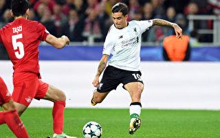 凭借巴西球星库蒂尼奥(右)的关键进球,利物浦在客场1:1战平莫斯科斯巴达。(KIRILL KUDRYAVTSEV/AFP/Getty Images)