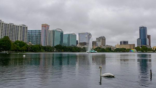 奧蘭多市區的伊奧拉湖,鮮見人煙,只見湖上的天鵝仍在自由遊蕩,絲毫不知一場毀滅性的颶風即將到來。 (岑華穎/大紀元)