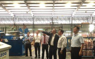 嘉义市副市长张惠博一行人参访马国的台商企业。 (嘉义市政府提供)