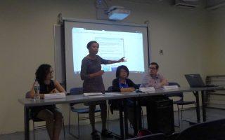 左起:紐約移民聯盟代表Lovelie Tejada、維樂貴絲、馮郁雯與Alexander Moreira,16日在華埠的「幼年入境暫緩遞解計畫」(DACA)里民大會上。 (蔡溶/大紀元)