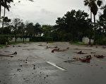 9月9日艾玛飓风的强风暴雨已到了南佛罗里达地区。傍晚地上落荒一片。 (吴蔚溪/大纪元)