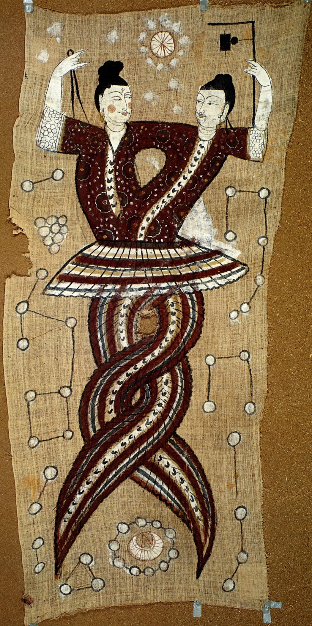 唐代人首蛇身伏羲女娲图:女娲执规,伏羲执矩。(维基百科公共领域)