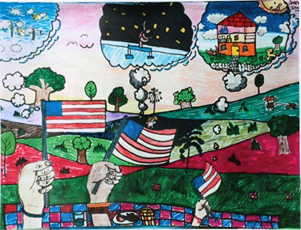 图:明慧学校学生儿童画参赛获奖作品《美丽的美国》,作者:卓芷清。(《醉梦画室》提供)