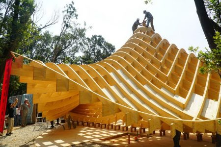 木建築結構造型非常特別 。(新竹縣政府提供)