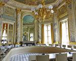 最高行政法院內的權限裁定法庭。這裡原先是奧爾良公爵夫人的餐廳,由法國18世紀著名建築師Pierre Contant d'Ivry設計。(關宇寧/大紀元)