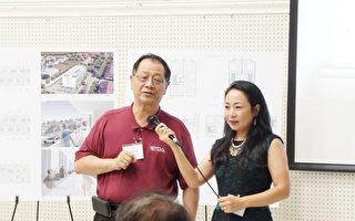 """圖:""""祥瑞花園""""項目負責人李兆瓊(左)和銷售業務代表Anna Wang(右)在項目介紹會上。(易永琦/大紀元)"""