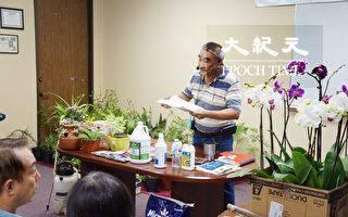 資深園藝專家俞希彥表示,損失難免,但可以修改院子的地勢,減低未來的水患影響。(易永琦/大紀元)