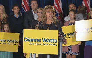 圖:前素裡市長Dianne Watts週日(9月24日)召開新聞會正式宣布,將會參與明年二月的省自由黨黨領選舉。(加通社)