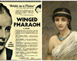 左:1937年出版的《飛翔的法老》(Winged Pharaoh)圖書廣告;右:英國畫家埃德溫‧朗斯頓‧朗(Edwin Longsden Long, R.A.)筆下的古埃及女子。(公有領域/大紀元合成)