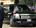 """总统轿车""""野兽""""一般来讲是由美国特勤局主导设计,而且通常会生产多个同款备用汽车停放在特勤局总部地下室内,并被24小时监控。 (Adam Berry/Getty Images)"""