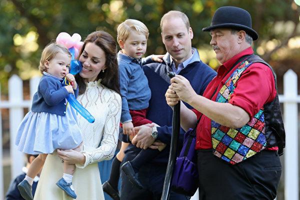 2016年9月,英國劍橋公爵夫婦與兩個孩子在加拿大訪問。(Chris Jackson - Pool/Getty Images)