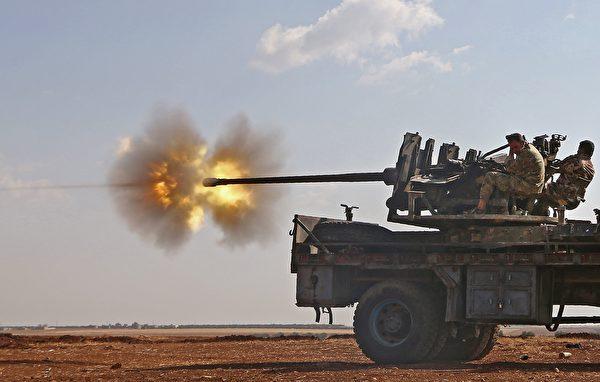 高射砲。(NAZEER AL-KHATIB/AFP/Getty Images)