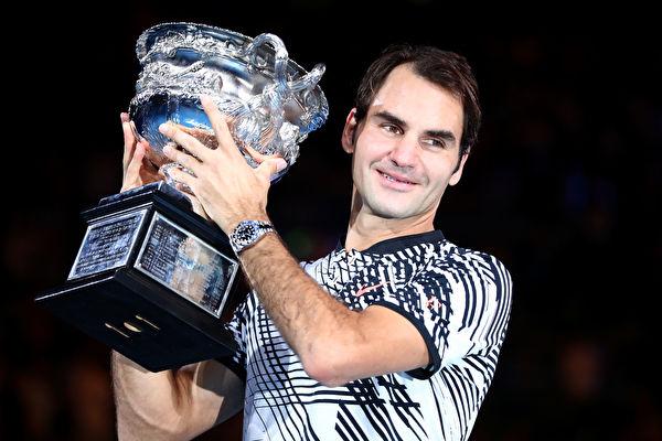 瑞士天王费德勒获得2017年澳网冠军。 (Cameron Spencer/Getty Images)