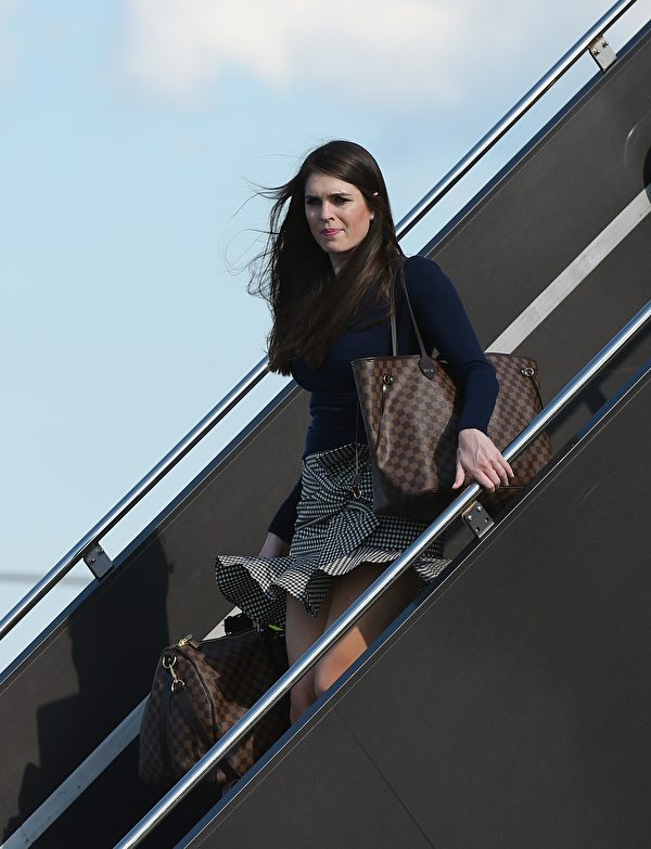 Hope Hicks, White House Director of Strategic Communications, steps off Air Force One upon arrival at Newark Liberty Airport in Newark, New Jersey on June 9, 2017. Hicks is traveling with US President Donald Trump to his Bedminster, New Jersey golf club to spend the weekend. / AFP PHOTO / MANDEL NGAN (Photo credit should read MANDEL NGAN/AFP/Getty Images)