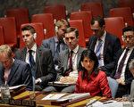 7月5日聯合國安理會就朝核問題召開緊急會議。美國駐聯合國大使黑利(中)正在聽與會者發言。(Drew Angerer/Getty Images)