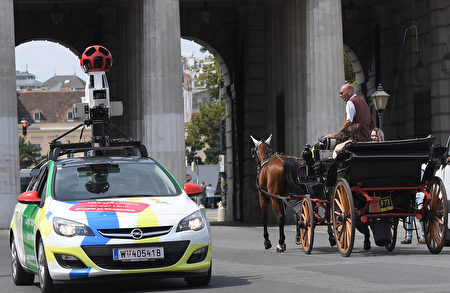 This picture taken on July 19, 2017 shows Google Street View car during a press presentation in Vienna. / AFP PHOTO / APA / ROLAND SCHLAGER / Austria OUT (Photo credit should read ROLAND SCHLAGER/AFP/Getty Images)