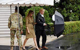 9月2日,美國總統川普和夫人再赴災區視察。(Olivier Douliery-Pool/Getty Images)