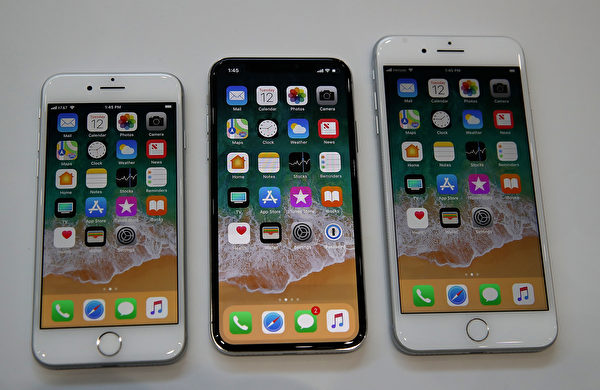 從左到右:iPhone 8,iPhone X,iPhone 8 Plus。(Justin Sullivan/Getty Images)