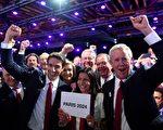 國際奧委會9月13日在秘魯首都利馬舉行的131屆全會上,投票通過了法國巴黎對2024年夏季奧運會和殘奧會的主辦權。圖為巴黎申奧團隊為巴黎成功申奧而歡呼。(MARTIN BERNETTI/AFP/Getty Images)